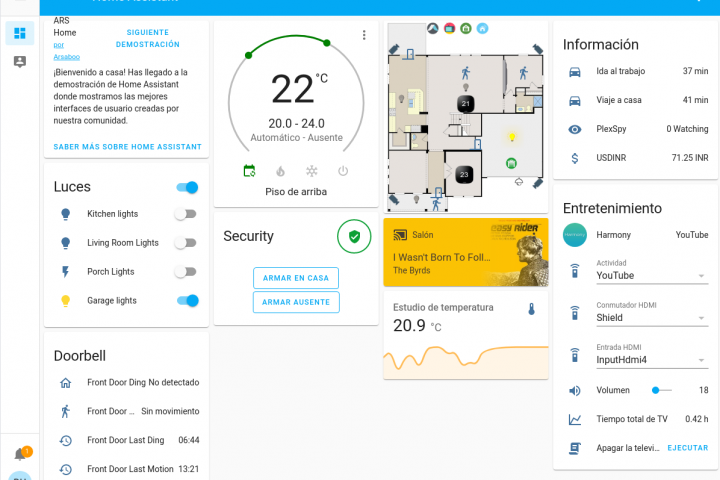 Intefaz de Home Assistant para la gestión de dispositivos